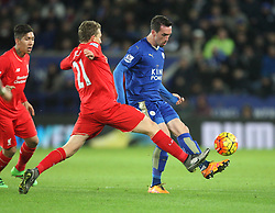 Christian Fuchs of Leicester City (R) in action - Mandatory byline: Jack Phillips/JMP - 02/02/2016 - FOOTBALL - King Power Stadium - Leicester, England - Leicester City v Liverpool - Barclays Premier League