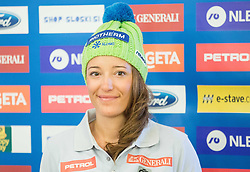 Katarina Lavtar during official presentation of the outfits of the Slovenian Ski Teams before new season 2015/16, on October 6, 2015 in Kulinarika Jezersek, Sora, Slovenia. Photo by Vid Ponikvar / Sportida