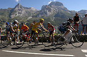 FRANCE 25th JULY 2007: Images from Stage 16 Orthez to Gorette - Col d'Aubisque. Within 2.5km of the finish, Discovery Channel's Levi Leipheimer leads Rabobank's Mikael Rassmussen and Alberto Contador. Rassmussen won the stage to consolidate his lead in the general classification.