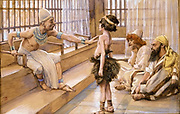 Joseph Sold [to slavery] into Egypt Gouache paint on cardboard by James Tissot  1896-1902
