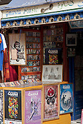 A Gnawa music shop in the medina of Essaouira in Morocco. Gnawa music is a mixture of sub-Saharan African, Berber, and Arabic religious songs and rhythms
