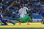 Shareef Keouf of Israel (1) saves from Tyreece John-Jules of England (9) during the UEFA European Under 17 Championship 2018 match between England and Israel at Proact Stadium, Whittington Moor, United Kingdom on 4 May 2018. Picture by Mick Haynes.