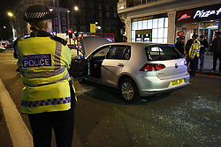 © Licensed to London News Pictures. 19/11/2015. London, UK. Police attending an abandoned car outside Baker Street tube station in central London after a controlled explosion on Thursday, 19 November 2015. Photo credit: Tolga Akmen/LNP