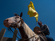 Casey Taylor, of Monte Vista, CO, waits his turn to enter the ring carrying the New Mexico flag, during opening ceremonies at the 2018 Los Alamos County Rodeo.