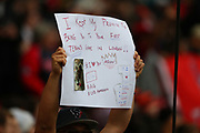 A sign held aloft by a Texans fan during the NFL game between Houston Texans and Jacksonville Jaguars at Wembley Stadium in London, United Kingdom. 03 November 2019