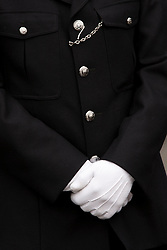 LOCATION, UK  29/04/2011. The Royal Wedding of HRH Prince William to Kate Middleton. Met police officer in formal dress uniform. Westminster Bridge, London. Photo credit should read Sean Power/LNP. Please see special instructions. © under license to London News Pictures