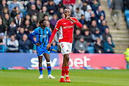 Charlton Athletic midfielder Joe Aribo (17) celebrates after scoring a goal (0-1) during the EFL Sky Bet League 1 match between Gillingham and Charlton Athletic at the MEMS Priestfield Stadium, Gillingham, England on 27 April 2019.