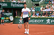 Novak Djokovic (SRB) shares a smile during his third round mens singles match of the Roland Garros Tennis Open 2017 at  at Roland Garros Stadium, Paris, France on 2 June 2017. Photo by Jon Bromley.