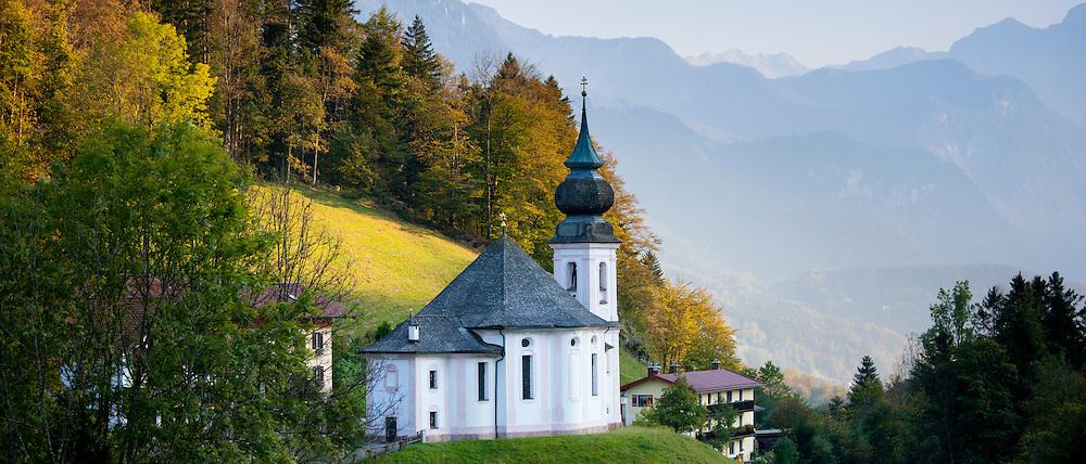Wallfahrtskirche Maria Gern, traditional onion dome Roman Catholic church at Berchtesgaden in Bavaria, Germany
