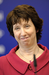 Catherine Ashton, the European Union's trade commissioner, smiles during a news conference on Friday, May 8, 2009, following two days of high-level economic and trade talks between EU and Chinese officials, at EU headquarters, in Brussels, Belgium. (Photo © Jock Fistick)