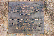 Plaque commemorating the pioneer crossing of Noble Pass, Lassen Volcanic National Park, California