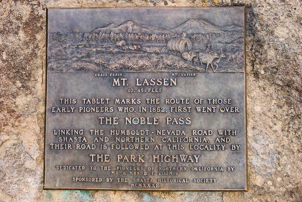 Plaque commemorating the pioneer crossing of Noble Pass, Lassen Volcanic National Park, California