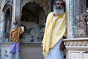 Priests at The Surya Mandir (known as the Monkey Temple), Jaipur, India
