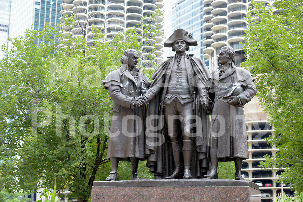 The Heald Square Monument by Lorado Taft in Chicago, Illinois Heald Square depicts General George Washington, Robert Morris and Haym Salomon. Photo by Mark Black