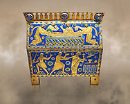 Medieval enamelled box depicting the martyrdom of Saint Thomas Becket, 12th century from Limoges, enamel on gold. AD. Inv OA 11333, The Louvre Museum, Paris. .<br /> <br /> If you prefer you can also buy from our ALAMY PHOTO LIBRARY Collection visit : https://www.alamy.com/portfolio/paul-williams-funkystock/limoges-enamel-antiquities.html Type - louvre - into the LOWER SEARCH WITHIN GALLERY box. <br /> <br /> Visit our MEDIEVAL ART PHOTO COLLECTIONS for more photos to download or buy as prints https://funkystock.photoshelter.com/gallery-collection/Medieval-Gothic-Art-Antiquities-Historic-Sites-Pictures-Images-of/C0000gZ8POl_DCqE