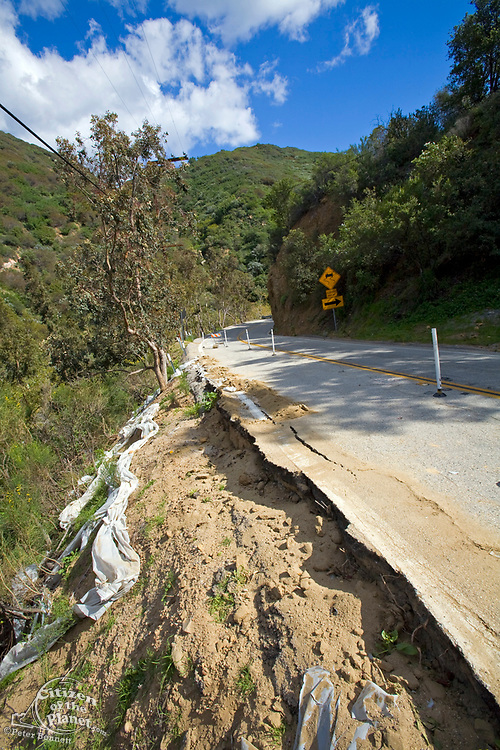 Heavy rains destroyed part of Las Flores Canyon Road in Malibu, California, USA