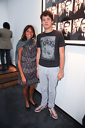 COUNTESS DEBONAIRE VON BISMARCK and her son COUNT CASPER VON BISMARCK at a private view of photographs by David Bailey entitled 'Then' held at Hamiltons, 13 Carlos Place, London W1 on 6th July 2010.