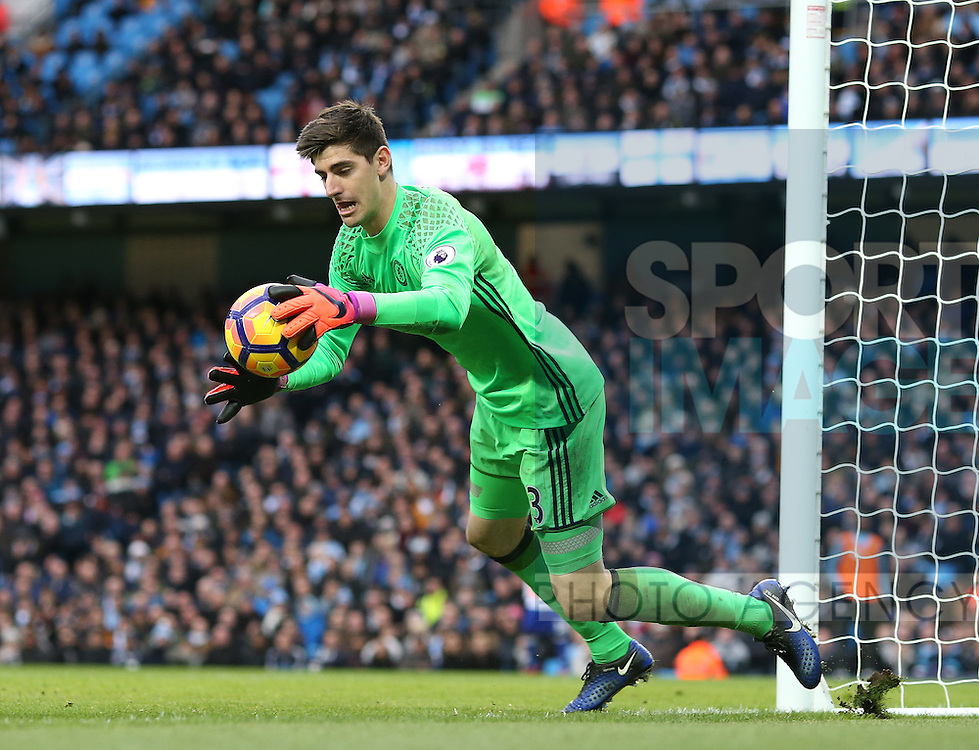 Thibaut Courtois of Chelsea during the Premier League match at the Etihad Stadium, Manchester. Picture date: December 3rd, 2016. Pic Simon Bellis/Sportimage