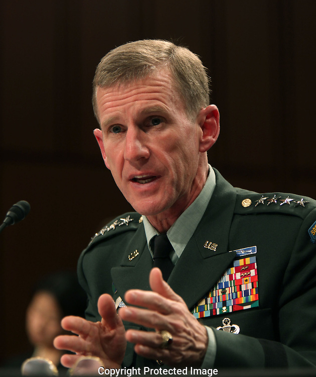 General Stanley A. McChrystal commander, International Security Assistance Forces and commander U.S. Forces in Afghanistan at a hearing of the Senate Armed Services Committee on December 8, 2009.  Photograph by Dennis Brack