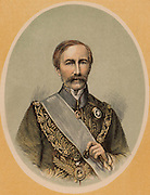 (Henry) Bartle (Edward) Frere (1815-84) British colonial administrator, born at Clydach, Breckonshire, Wales. Governor of Bombay (Mumbai) 1862-1867. Appointed governor of the Cape and High Commissioner in South Africa in 1877, recalled in 1880 because of his treatment of the Zulus. Colour-printed wood engraving.