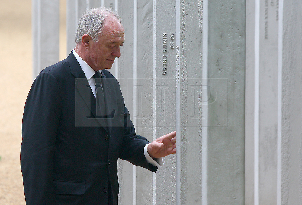 © under license to London News Pictures. London.  07/07/2011. Former Mayor of London Ken Livingstone touches one of the pillars at the memorial. People pay their respects to the victims of the 7/7 bombings in London today (Thurs) by the Hyde Park Memorial on the 6th anniversary of the tragedy. See special instructions. Mandatory credit Neil Hall/London News Pictures.