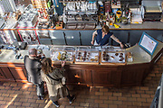A coffee shop in Paris France. Elevated view of the serving counter