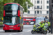 British police secure the area nearby the Hyde Park where different groups of people were protesting for various political and social issues in Central London, on Sunday, July 19, 2020. (VXP Photo/ Vudi Xhymshiti)