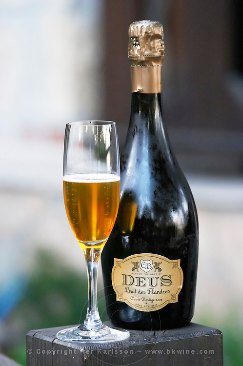 Bottle fermented beer Deus from Flanders, vintage 2006. Kontosoros restaurant and guest house, Xino Nero, Amyndeo, Macedonia, Greece