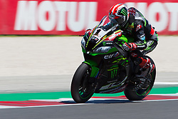 July 7, 2018 - Misano, RN, Italy - Jonathan Rea of Kawasaki Racing Team during race 1 of the Motul FIM Superbike Championship, Riviera di Rimini Round, at Misano World Circuit ''Marco Simoncelli'', on July 07, 2018 in Misano, Italy  (Credit Image: © Danilo Di Giovanni/NurPhoto via ZUMA Press)