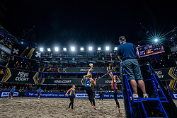 Emi van Driel, Mexime van Driel, Madelein Meppelink in action during the last day of the beach volleyball event King of the Court at Jaarbeursplein on September 12, 2020 in Utrecht.