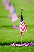 American flags and Hawaiian Lei adorn the grave sites at the National Memorial Cemetery of the Pacific, Punchbowl
