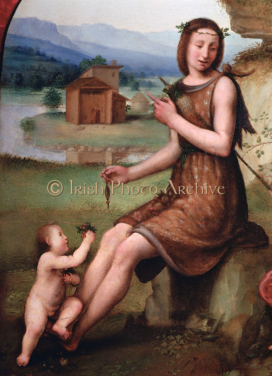 Woman and child in a landscape'.  Taddeo Zuccaro or Zuccari (c1430-1516) Italian painter. Young woman in knee-length  sleeveless dress sitting on rock spinning with spindle and distaff . Naked child hands her flowers. Rustic Valley River