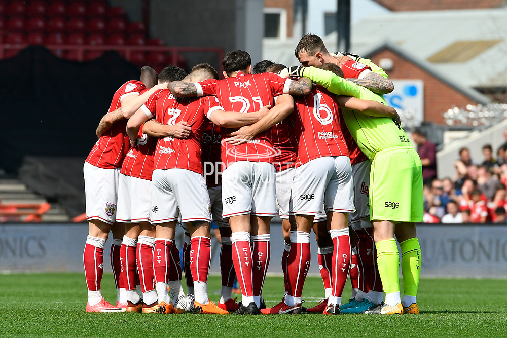 Bridtol City players huddle before the EFL Sky Bet Championship match between Bristol City and Hull City at Ashton Gate, Bristol, England on 21 April 2018. Picture by Graham Hunt.