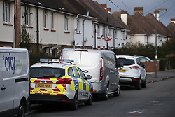 © Licensed to London News Pictures. 17/03/2019. London, UK. Officers are seen in Viola Avenue in Stanwell after police said that they are treating a stabbing incident last night as a terrorism. Counter Terrorism Policing South East are leading an investigation into an incident last night, which has now been declared a terrorist incident, following the arrest of a man on suspicion of attempted murder and racially aggravated public order in Stanwell. Photo credit: Peter Macdiarmid/LNP