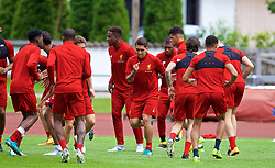 ROTTACH-EGERN, GERMANY - Friday, July 28, 2017: Liverpool's Roberto Firmino and his team-mates during a training session at FC Rottach-Egern on day three of the preseason training camp in Germany. (Pic by David Rawcliffe/Propaganda)