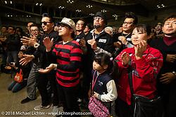Fans of the wonderful band called the Oh! Shares at the 27th Annual Mooneyes Yokohama Hot Rod Custom Show 2018. Yokohama, Japan. Sunday, December 2, 2018. Photography ©2018 Michael Lichter.