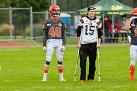 KELOWNA, BC - SEPTEMBER 22: Connor Johnstone #15 of Okanagan Sun stands on the field with brother Liam Johnstone #40 of Okanagan Sun during warm up against the Valley Huskers at the Apple Bowl on September 22, 2019 in Kelowna, Canada. (Photo by Marissa Baecker/Shoot the Breeze)