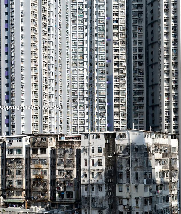 Contrast between old and new apartment blocks at Shek Kip Mei in Kowloon, Hong Kong.