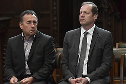April 24, 2018 - Heist-Op-Den-Berg, FRANCE - Thierry Gouvenou and Christian Prudhomme, cycling director of ASO (Amaury Sport Organisation) attend the funeral ceremony for cyclist Michael Goolaerts, Tuesday 24 April 2018 in Hallaar, Heist-Op-Den-Berg. Michael Goolaerts died after a crash in the Paris-Roubaix race on Sunday 8 April 2018, he was 23 years old...BELGA PHOTO DIRK WAEM (Credit Image: © Dirk Waem/Belga via ZUMA Press)