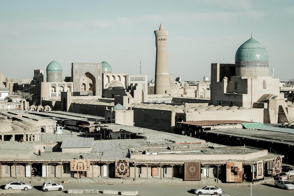 Bukhara, Uzbekistan 22 March 2012<br /> Landscape of Bukhara with the Kaylan Minaret (Kalon Minaret).<br /> The Kalyan minaret is the highest minaret of the Po-i-Kalyan mosque complex.<br /> PHOTO: EZEQUIEL SCAGNETTI