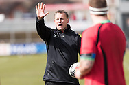 Kingsley Jones, Dragons head coach issues his orders in the warm up. Guinness Pro12 rugby match, Newport Gwent Dragons v Edinburgh Rugby at Rodney Parade in Newport, South Wales on Sunday 27th March 2016.<br /> pic by  Simon Latham, Andrew Orchard sports photography.