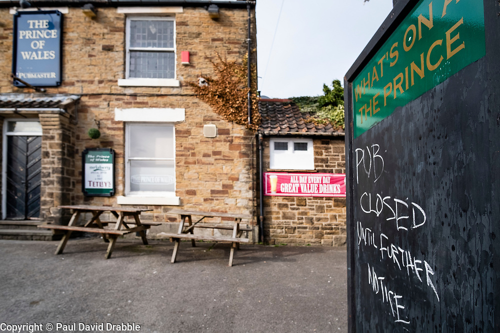 Signs of the Corona Virus. The Prince of Wales, Chapeltown Sheffield<br /> 21 March 2020<br /> <br /> www.pauldaviddrabble.co.uk<br /> All Images Copyright Paul David Drabble - <br /> All rights Reserved - <br /> Moral Rights Asserted -