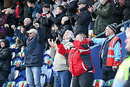 Charlton fans celebrate a goal during the The FA Cup match between Mansfield Town and Charlton Athletic at the One Call Stadium, Mansfield, England on 11 November 2018.