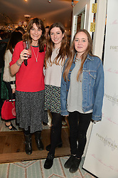 Left to right, VICTORIA PILKINGTON founder of Brora cashmere and clothing and her daughters JESSIE PILKINGTON and TULLIA PILKINGTON at the launch of Mrs Alice in Her Palace - a fashion retail website, held at Fortnum & Mason, Piccadilly, London on 27th March 2014.