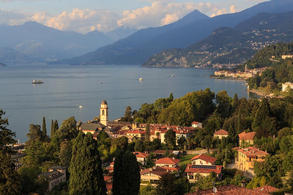 Bellagio village background and  San Giovanni village in the foreground make a delightful scenery on Lago di Como, Italy.