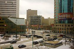 Vista aérea do centro de Winnipeg, no Canadá. FOTO: Jefferson Bernardes/Preview.com