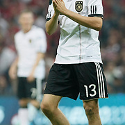 Germany's Thomas MULLER celebrate his goal during their UEFA EURO 2012 Qualifying round Group A matchday 19 soccer match Turkey betwen Germany at TT Arena in Istanbul October 7, 2011. Photo by TURKPIX