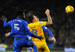 Bruno Ecuele Manga of Cardiff City and Jordan Hugill of Preston North End compete for the highball - Mandatory by-line: Nizaam Jones/JMP - 29/12/2017 -  FOOTBALL - Cardiff City Stadium - Cardiff, Wales -  Cardiff City v Preston North End - Sky Bet Championship