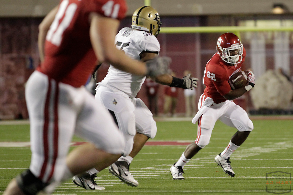 26 November 2011: Indiana Hoosiers wide receiver Dre Muhammad (82) as the Purdue Boilermakers played the Indiana Hoosiers in a college football game in Bloomington, Ind.