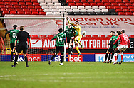Rochdale's Gavin Bazunu punches a shot away during the EFL Sky Bet League 1 match between Charlton Athletic and Rochdale at The Valley, London, England on 12 January 2021.